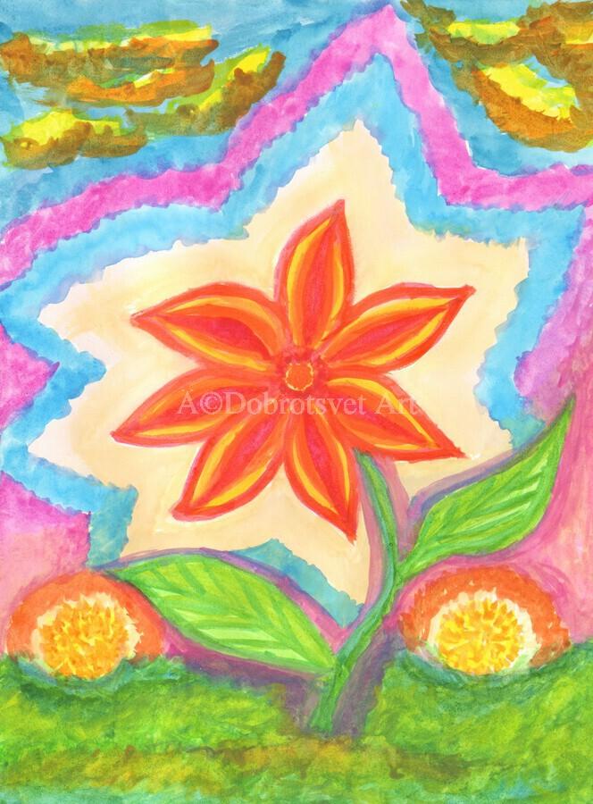 Magic scarlet flower   Print