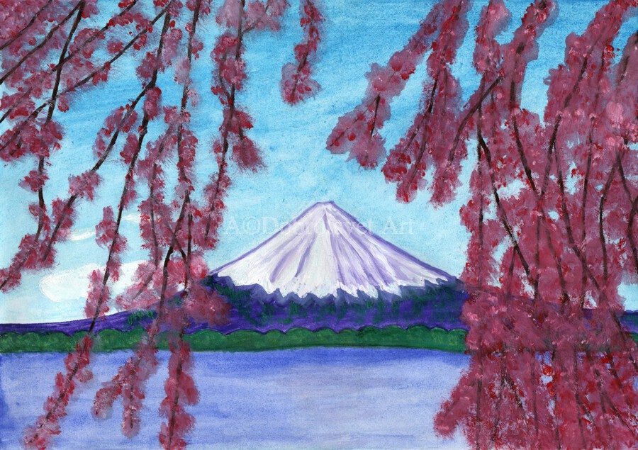 Sakura blooming on the background of a snowy mountain  Print