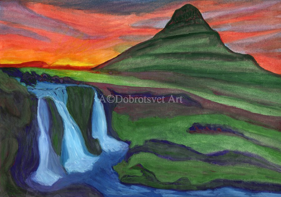 Mountain And Waterfall In The Rays Of The Setting Sun  Print