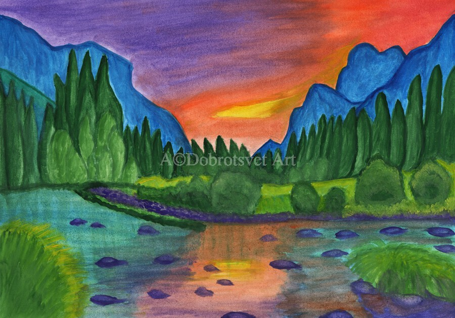 Mountain river in the background of the forest and the blue mountains at sunset  Print
