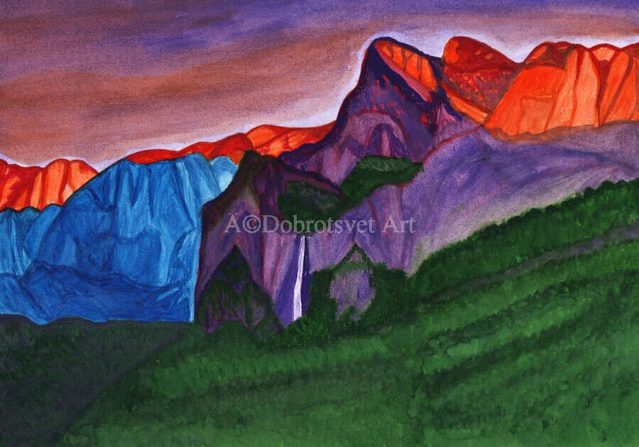 Snowy peaks of the mountains with a waterfall lit up by the orange dawn  Print