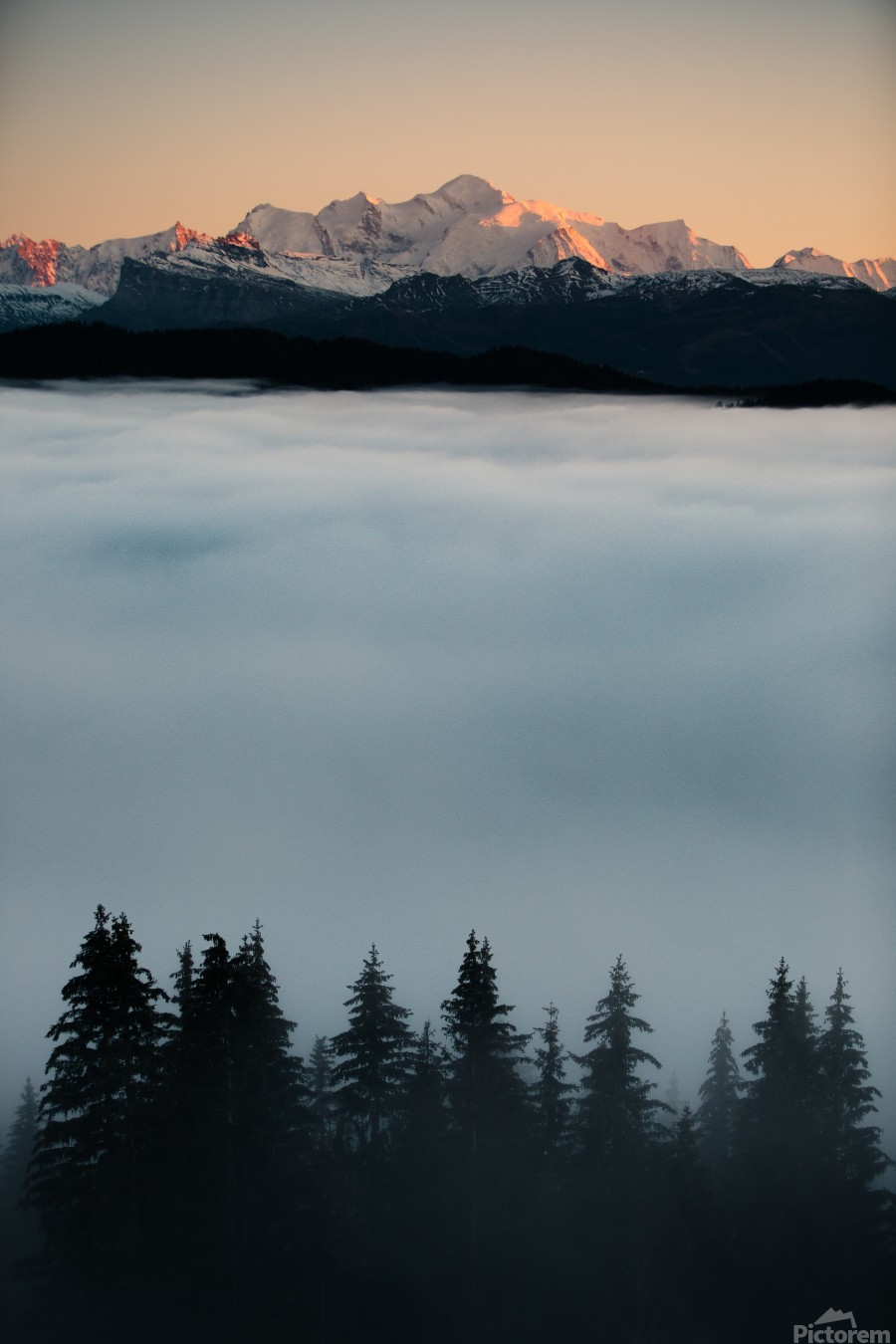 Mont Blanc and its sea of clouds  Print