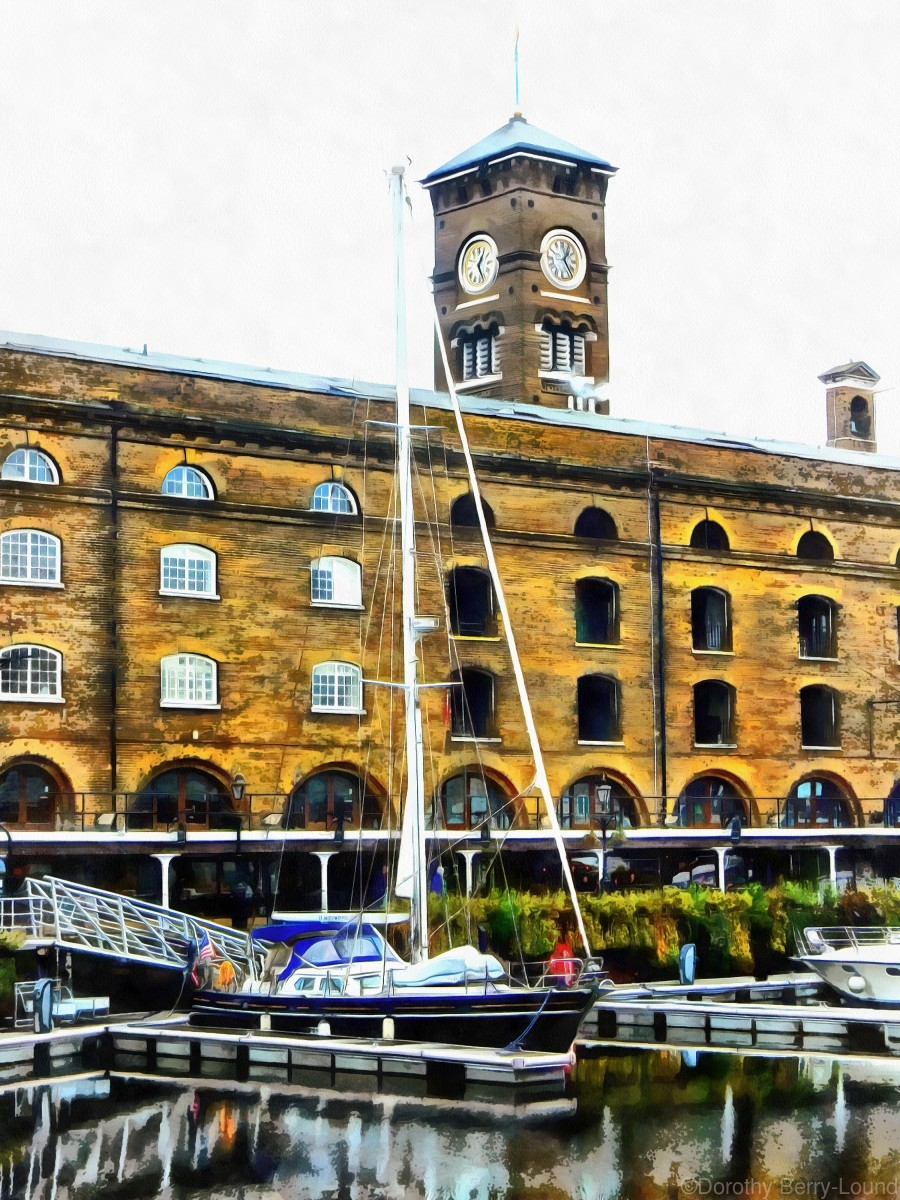 Boats in Front of Clock Tower St Katharine Docks  Print