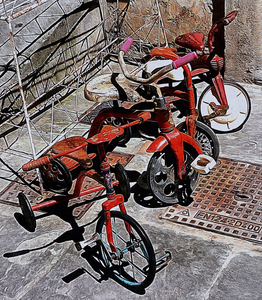 Italian Toy Antique Tricycles  Print
