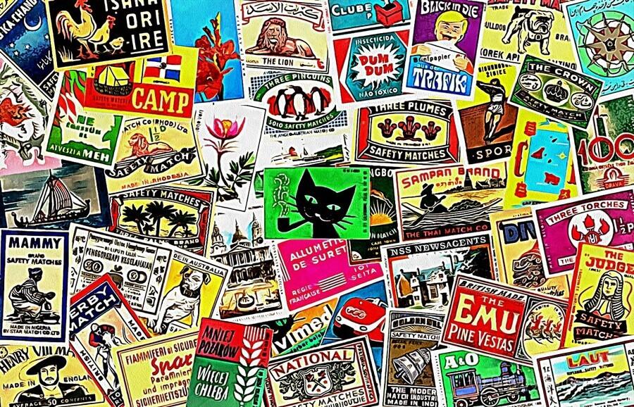 Matchbox Label Collage  Print