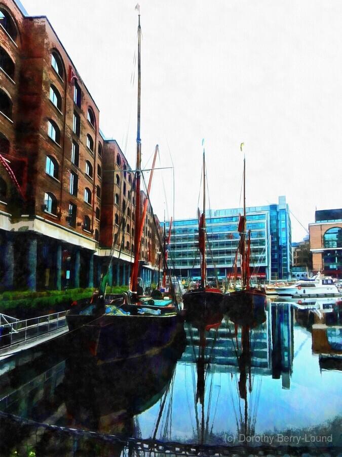 St Katharine Docks Boats 10  Print
