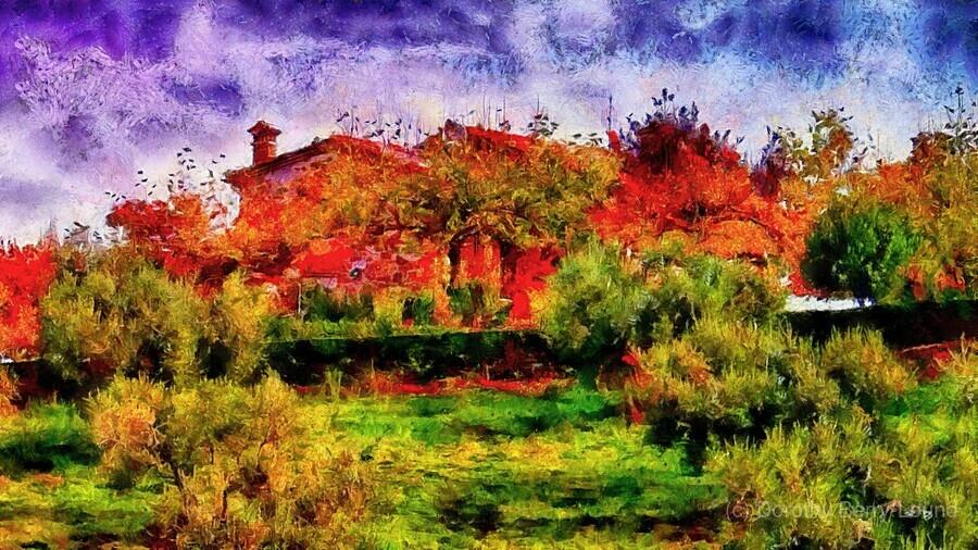 Sunset Autumn Color In Umbria  Print