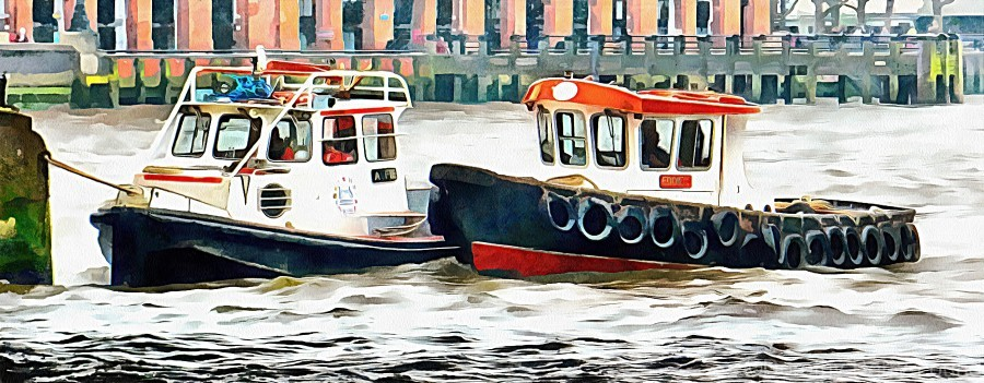 Two Boats Tied Up On The River Thames London  Print