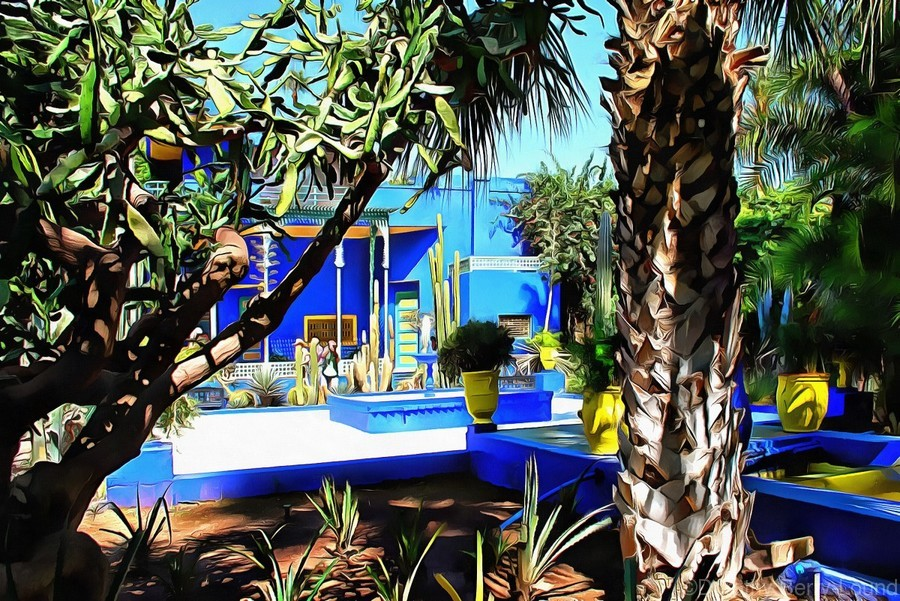 Yellow and Blue Contrasts Jardin Majorelle  Print