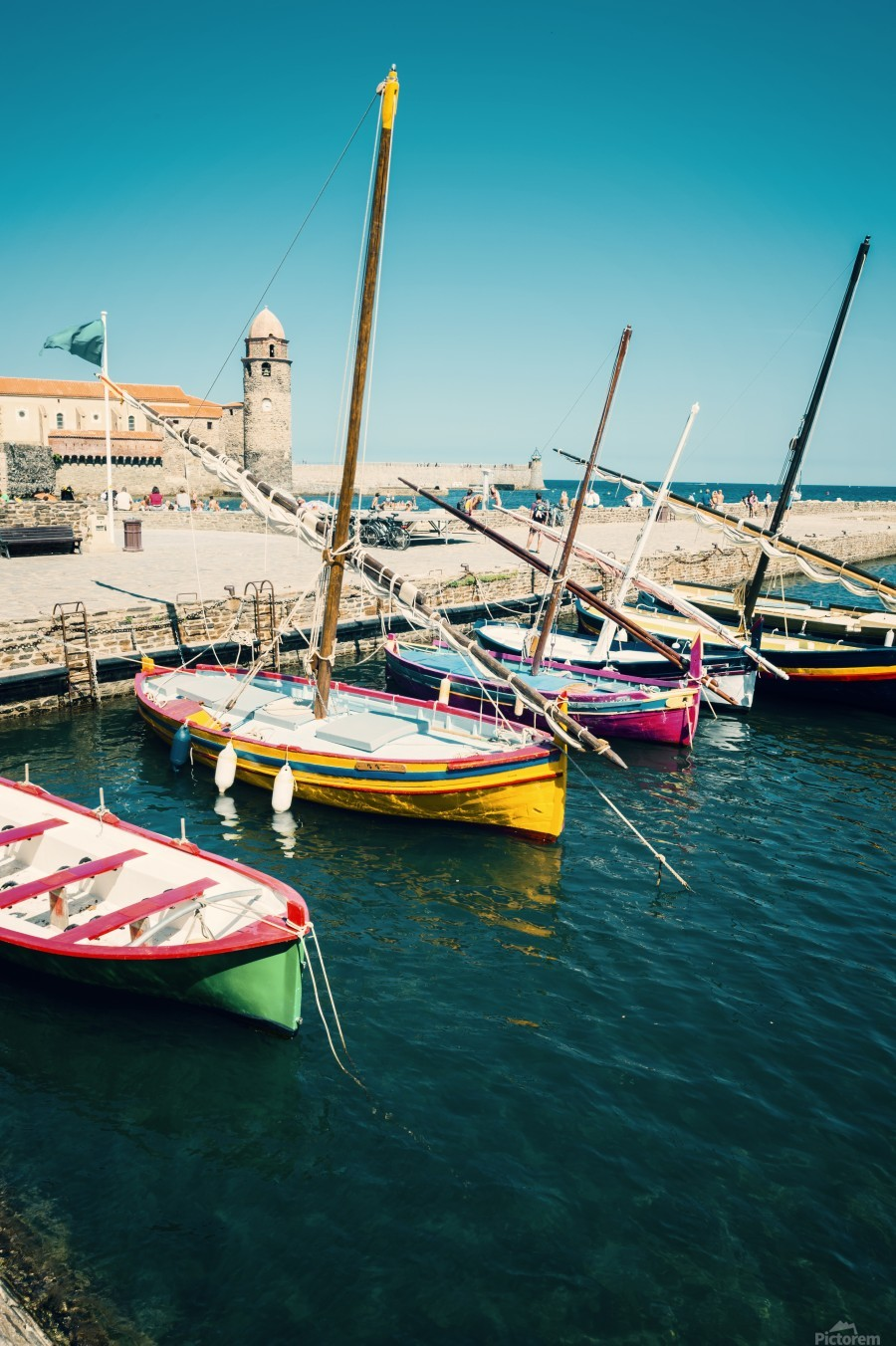 Collioure harbour Anchovy Fishing boats.  Print