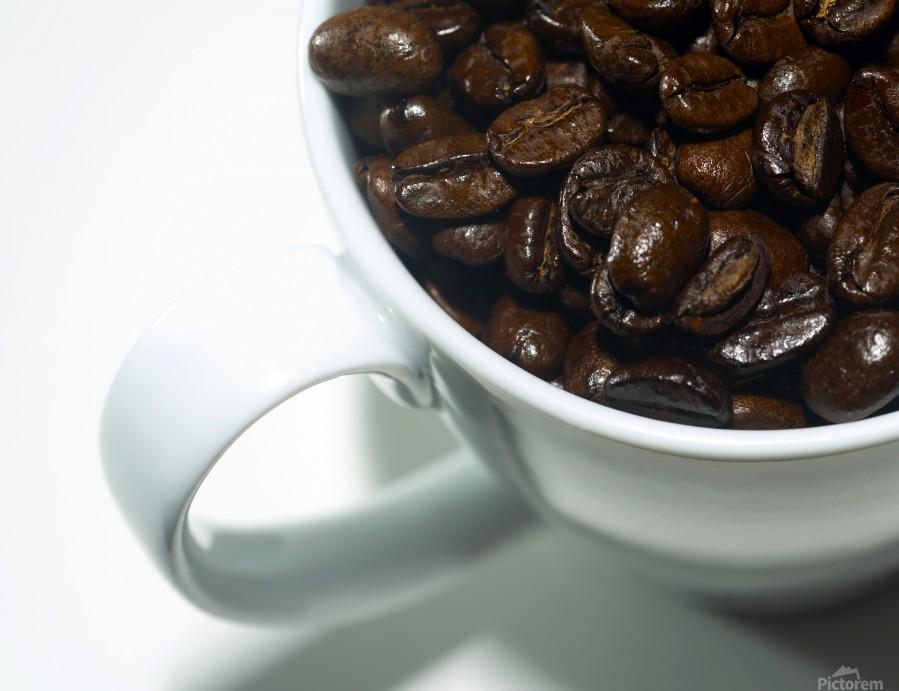 Coffee Beans in white mug  Print