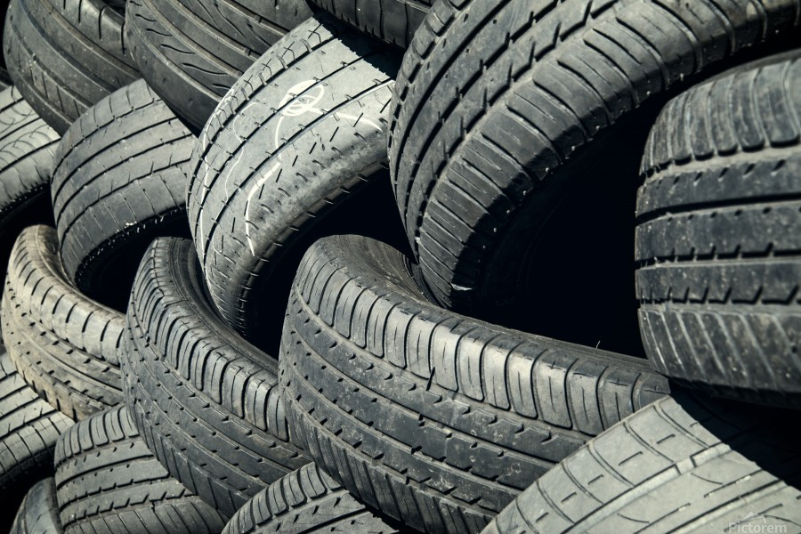 Tires stacked for recycling  Print