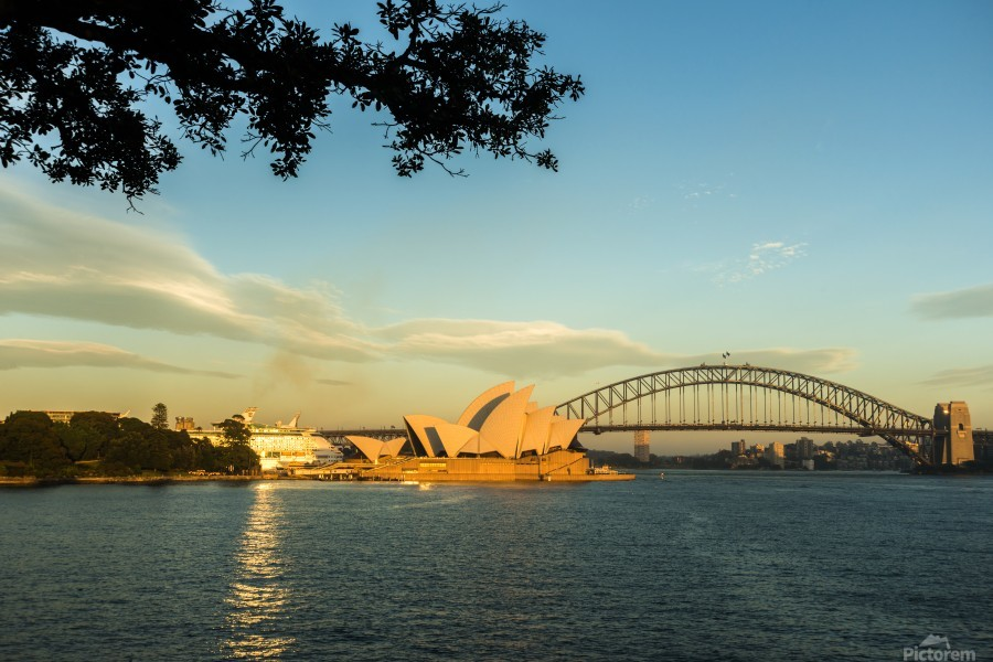 Sydney Opera house in the pre dawn light across the bay.  Print