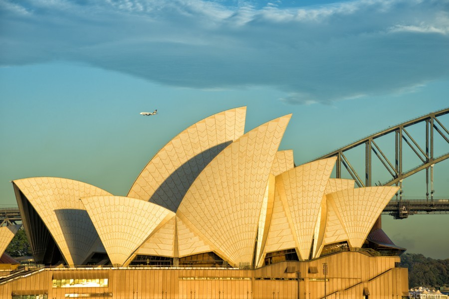 First plane of the morning Sydney Opera House  Print