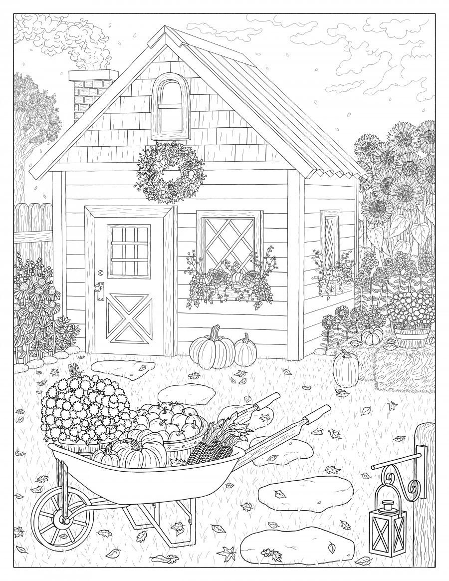 Autumn Cottage Coloring Page  Print