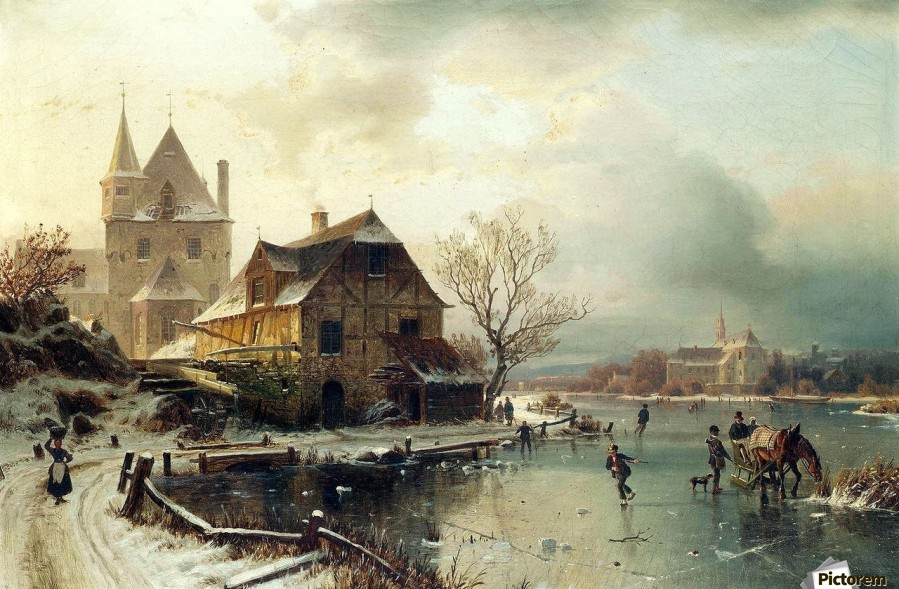 Dutch winter landscape with skaters  Print