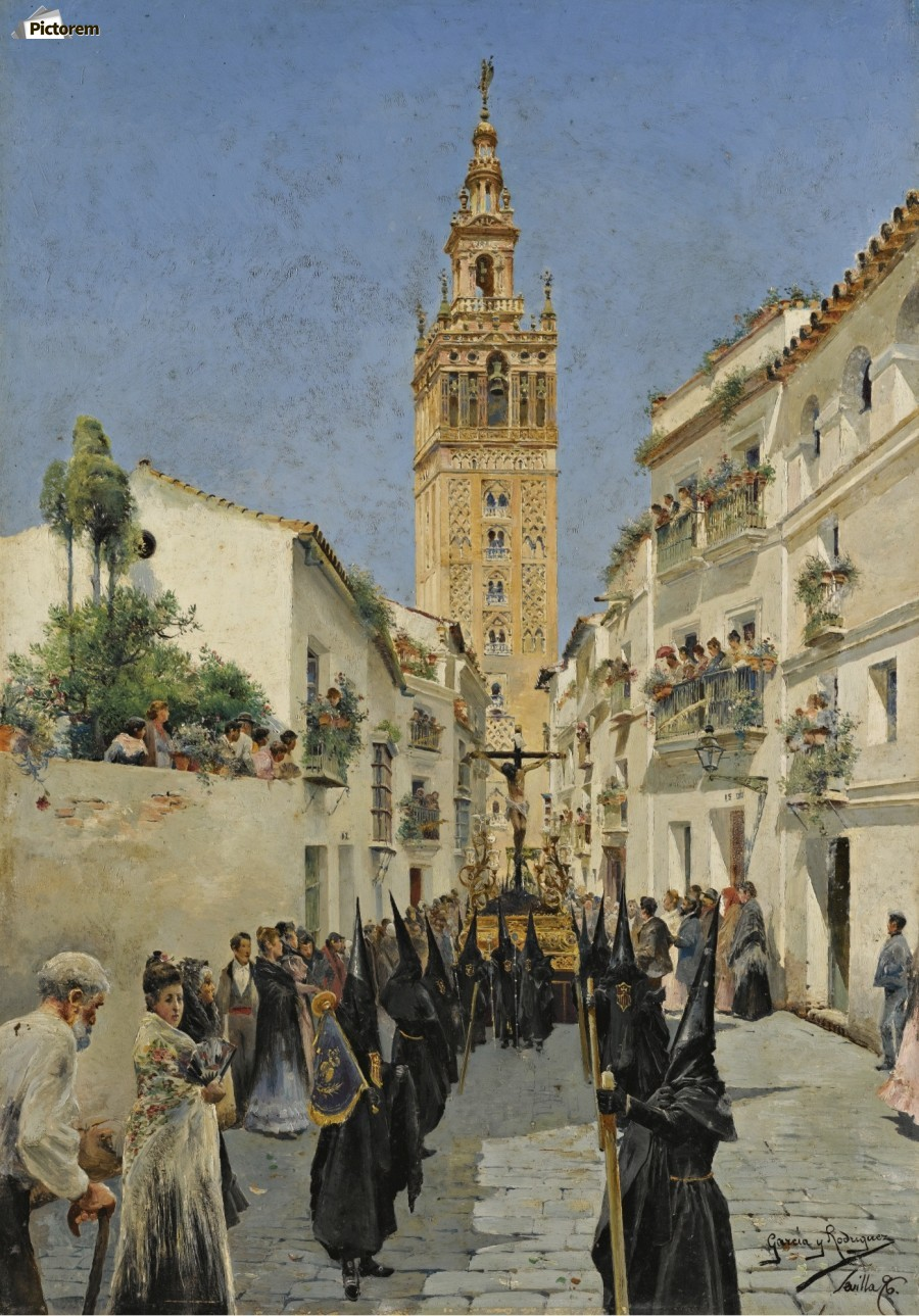 Easter Procession on Mateos Gago Street in Seville  Print