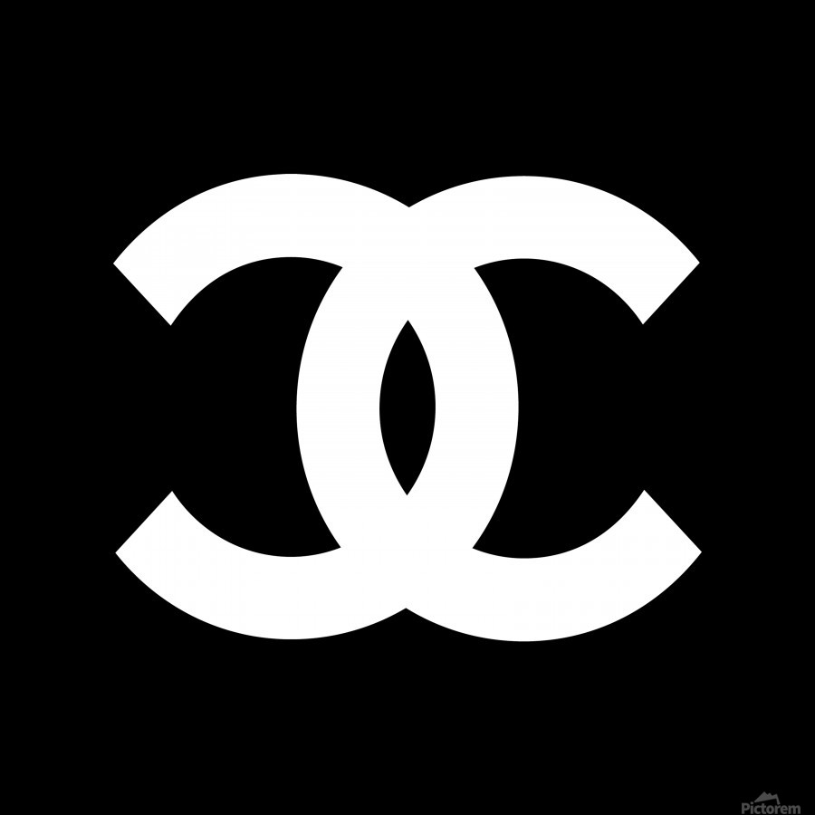 Chanel symbol black white acrylic print canvas print