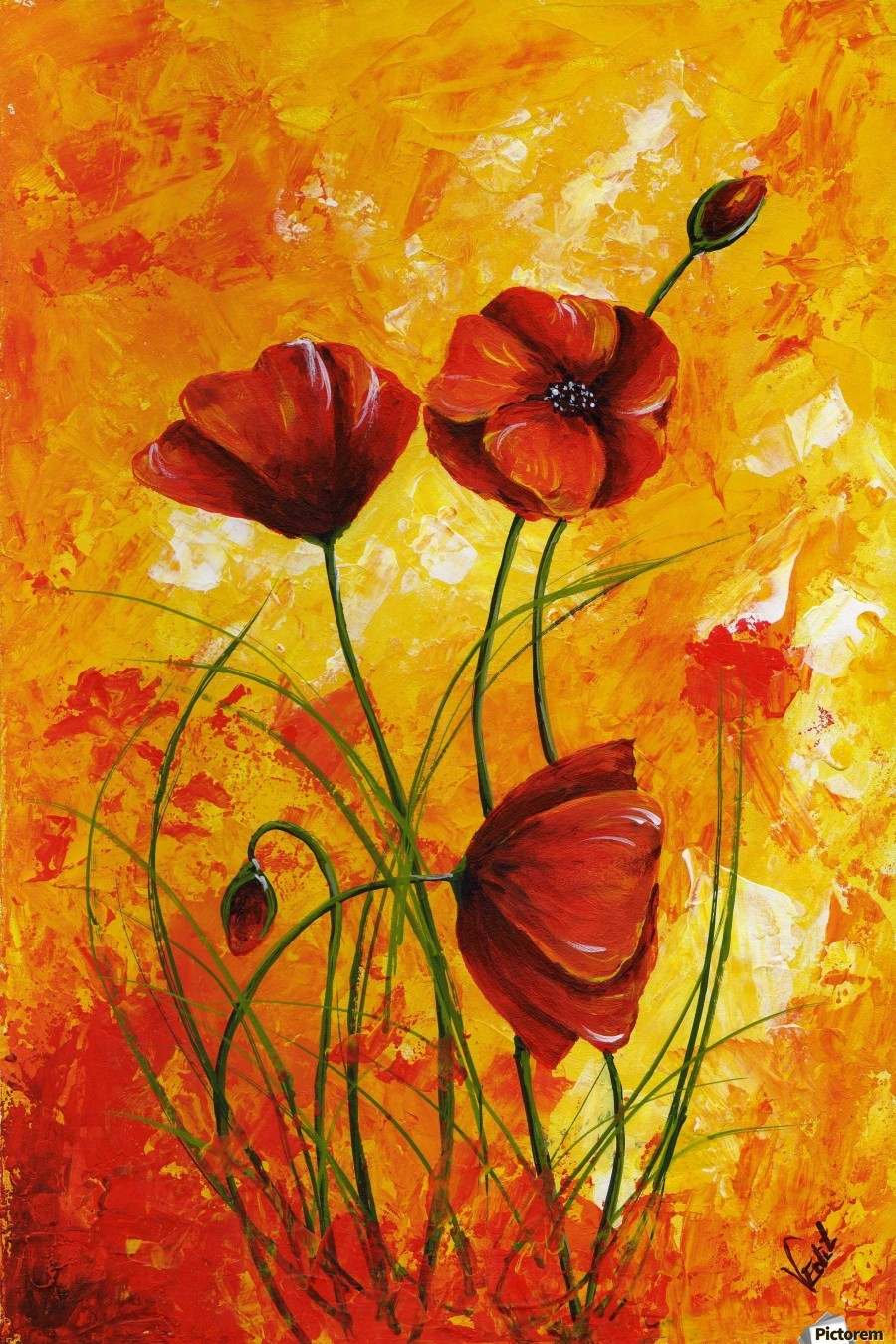 Red Poppies 006 - Edit Voros Canvas
