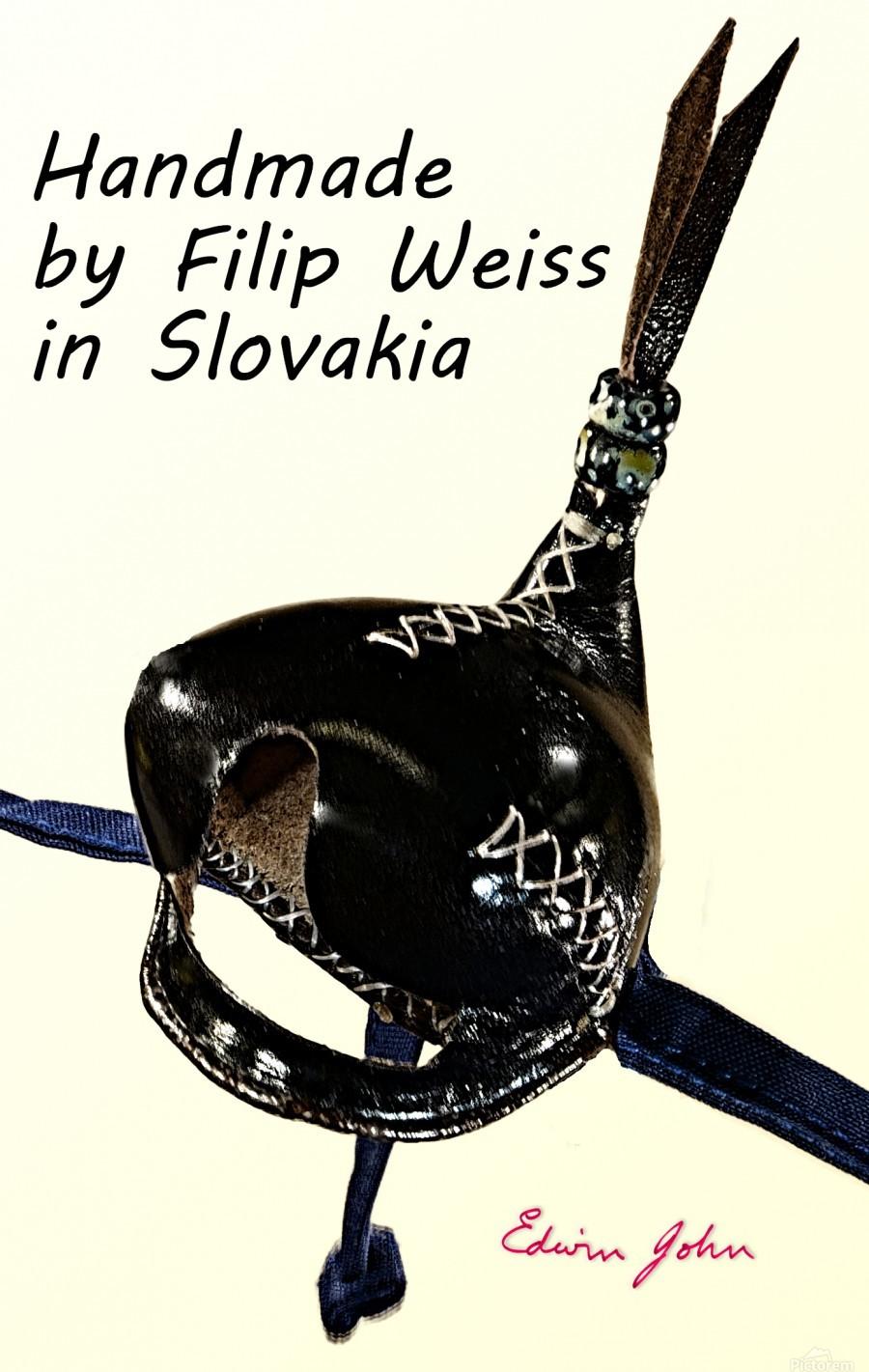 Black Leather Falcon hood Handmade in Slovakia by Filip  Print
