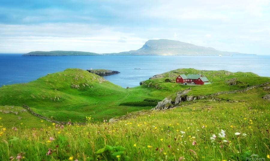 Faroe green field  Print