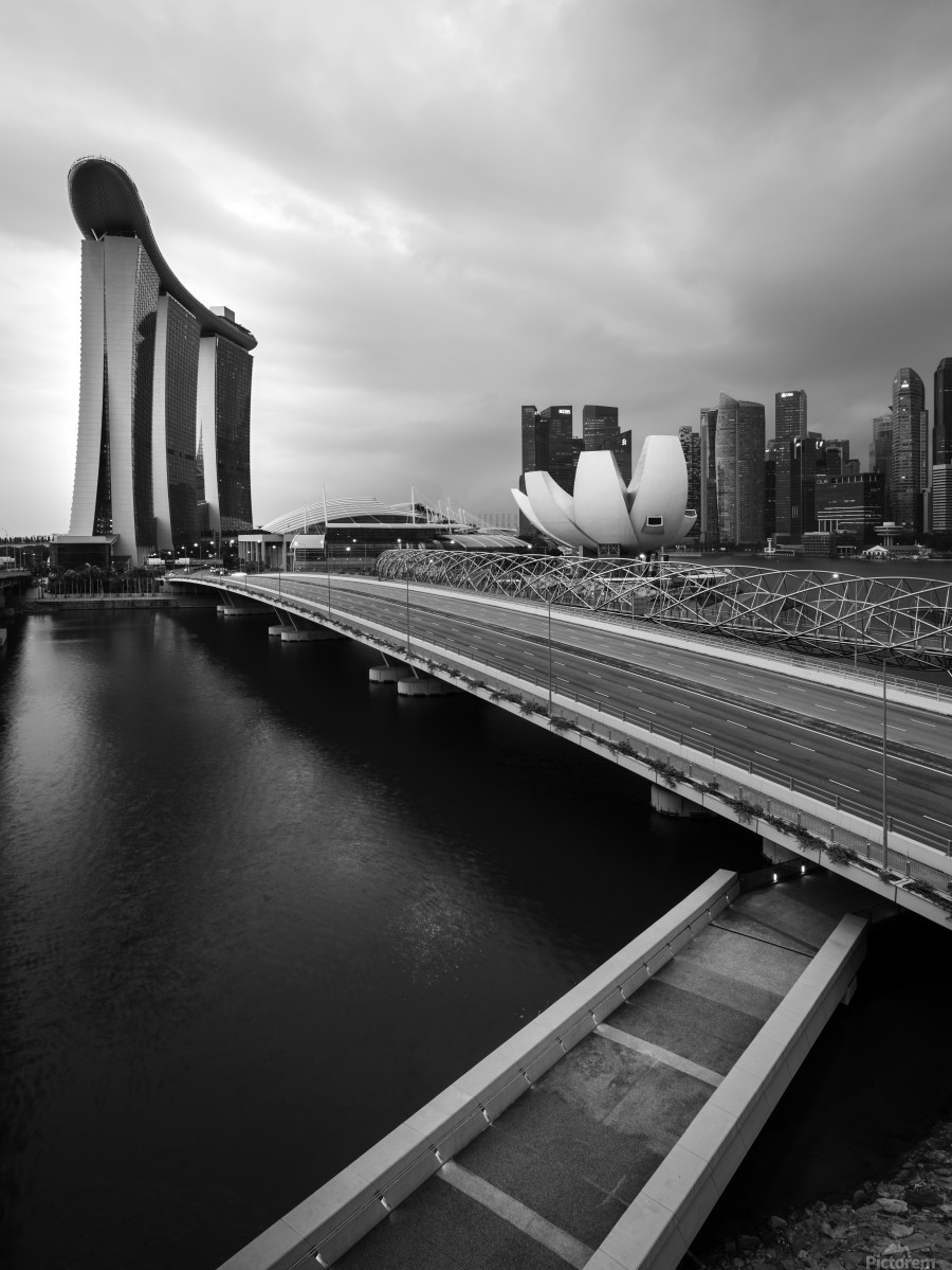 Singapores Marina Bay seen from the highway crossover  Print