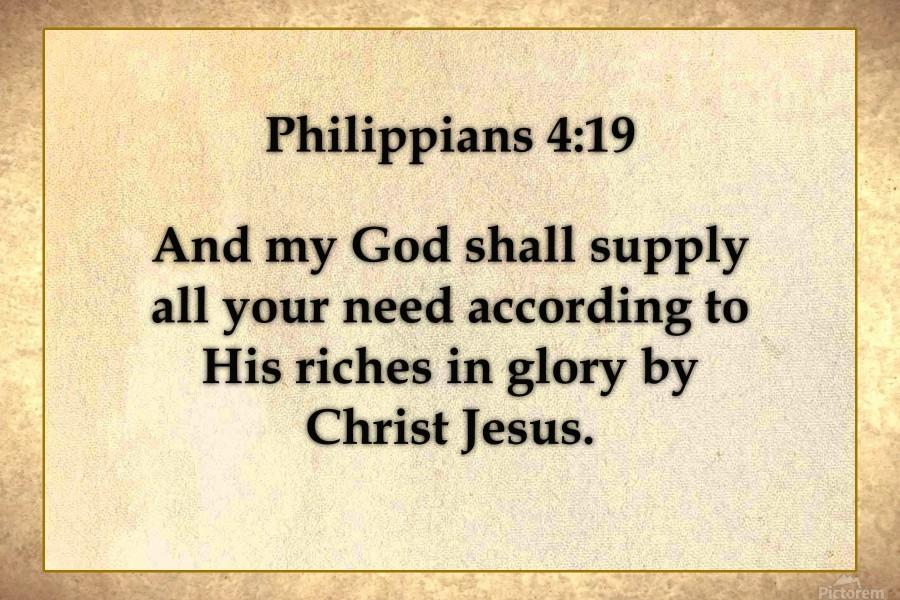 Philippians 4 19 - Scripture on the Walls - Canvas Artwork