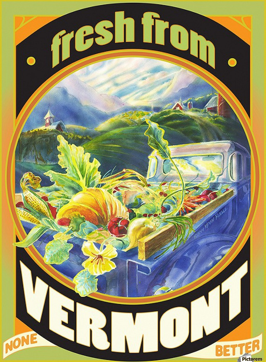 Faux Vintage Fresh from Vermont Travel Poster  Print