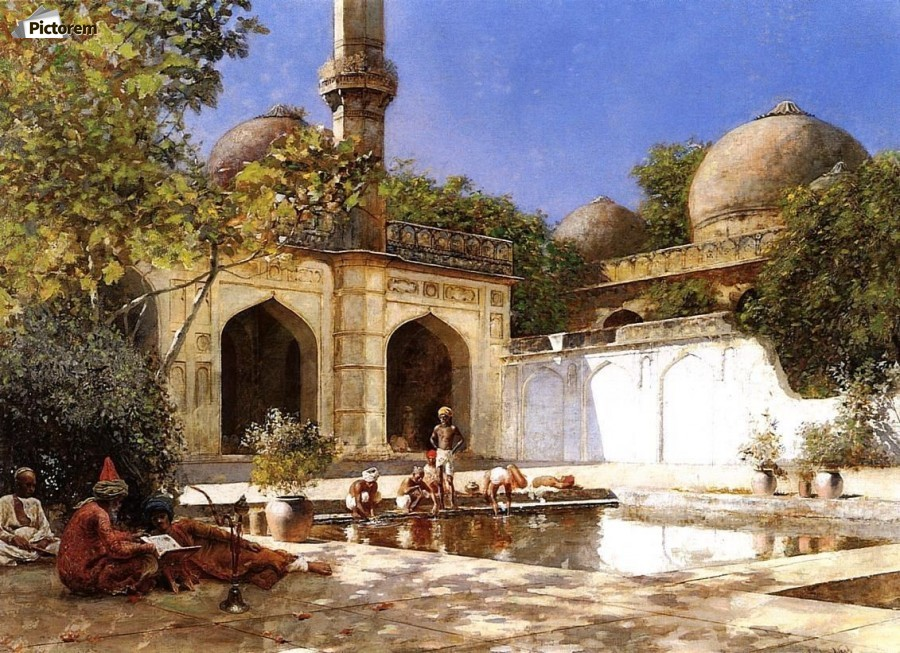 Figures in the Courtyard of a Mosque  Print