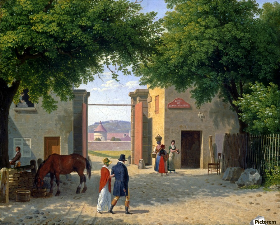 Figures walking around a villa near Rome  Print