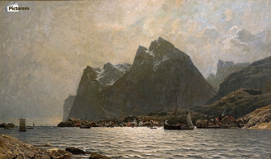 Fjord landscape with ships and figures  Print