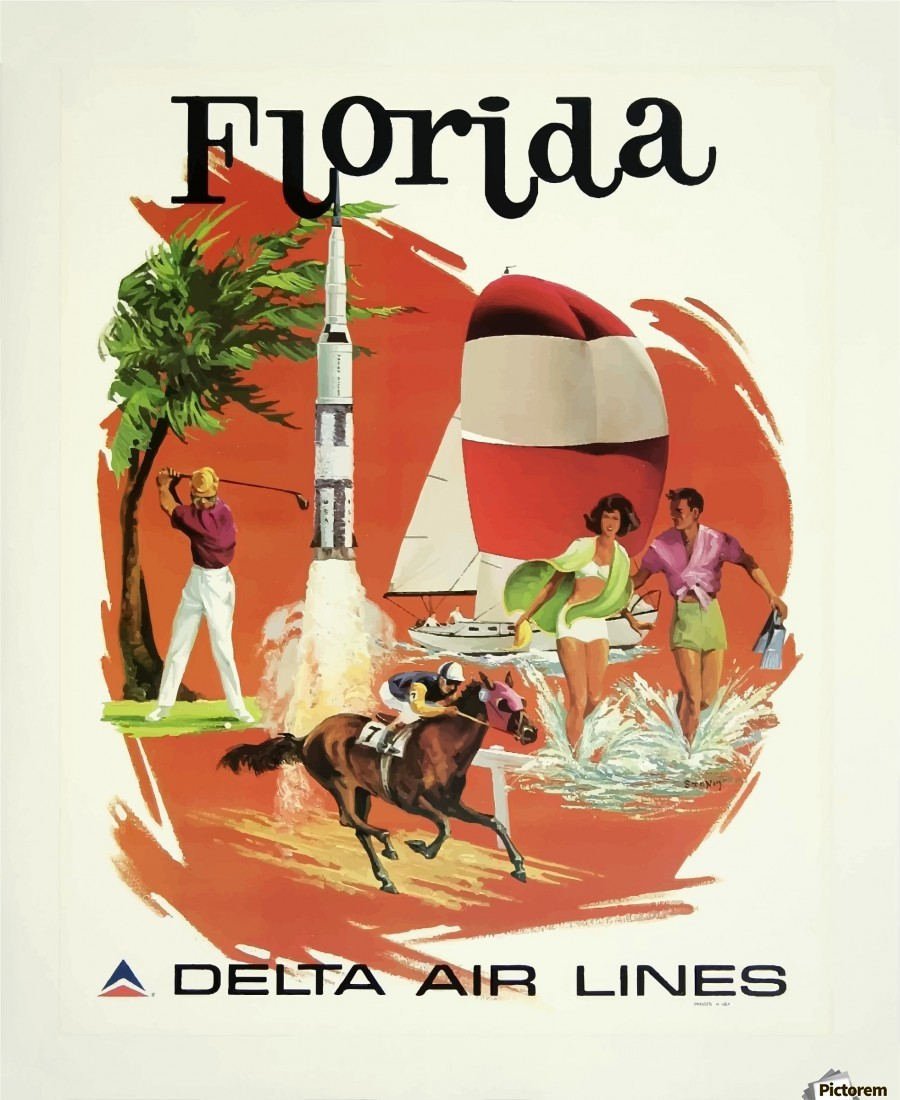 New York City Delta Air Lines Vintage United States Travel Advertisement Poster
