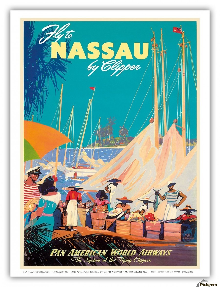 Vintage Airline Travel Poster Pan Am Nassau 4 sizes, matte+glossy avail