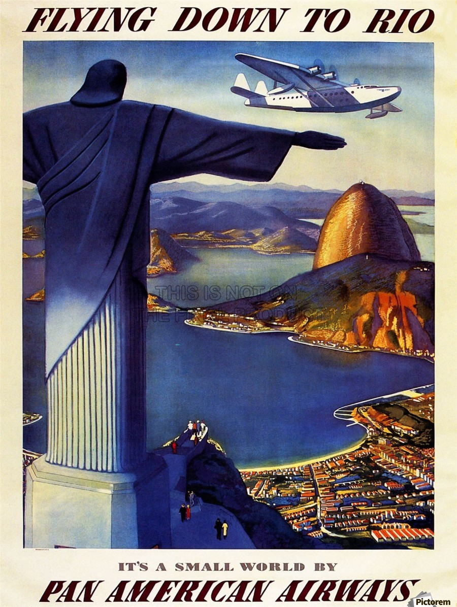 Flying Down To Rio Travel Airline Advert Brazil By Plane Poster