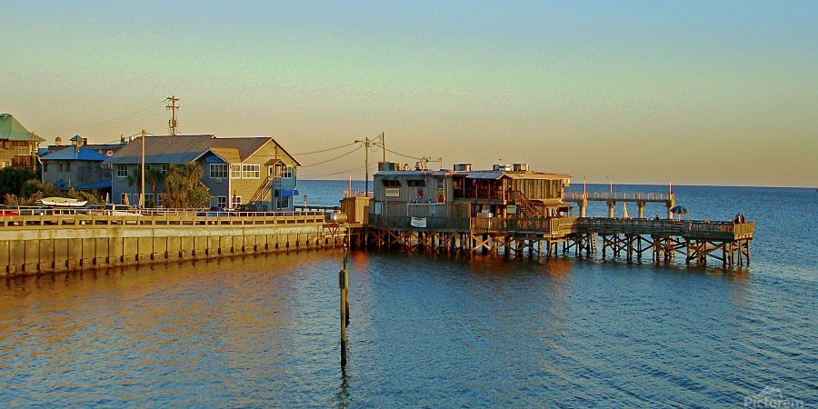 Cedar Key Florida - Sunset On The Wharf  Print