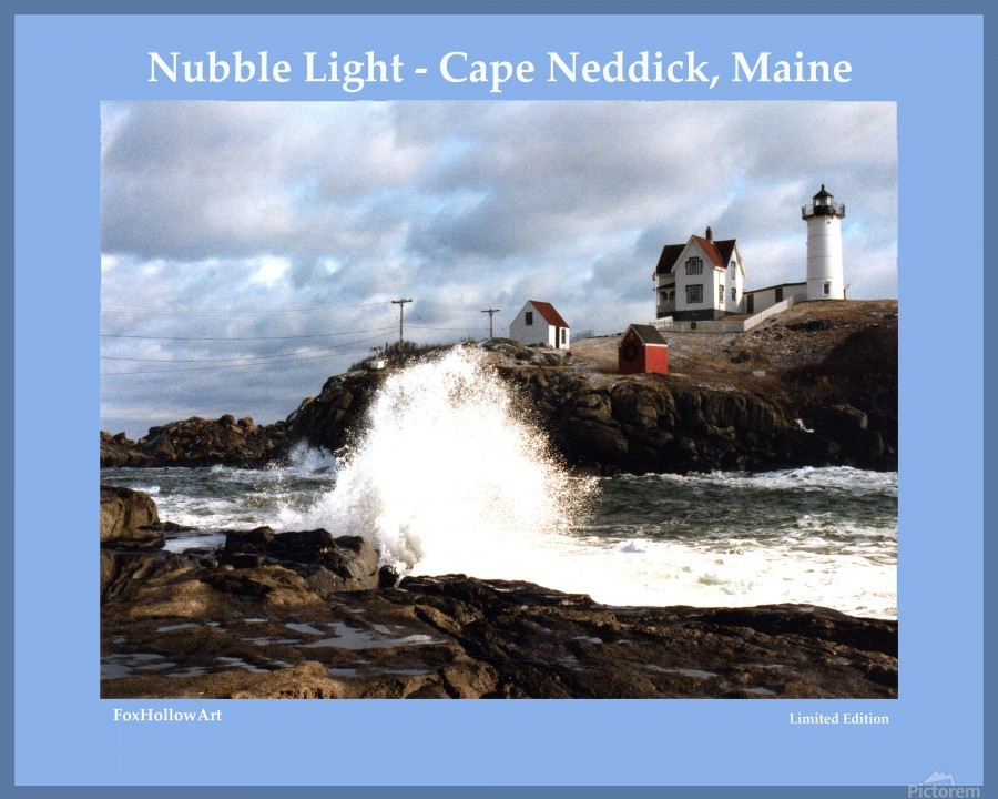 Nubble Light - Cape Neddick - York - Maine High Surf  Print
