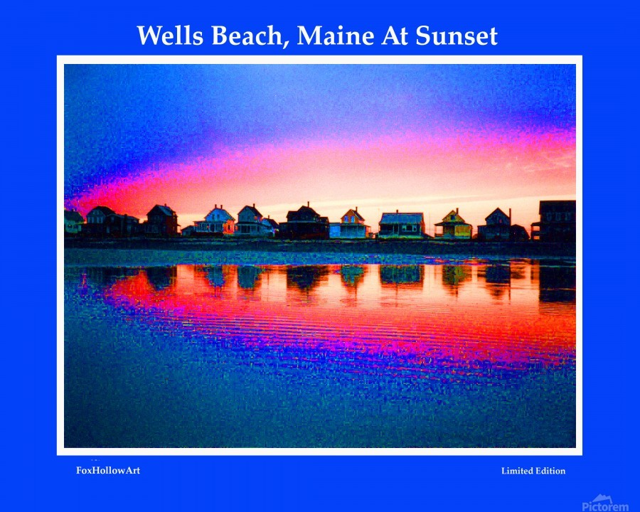 Wells Beach Maine Sunset  Print