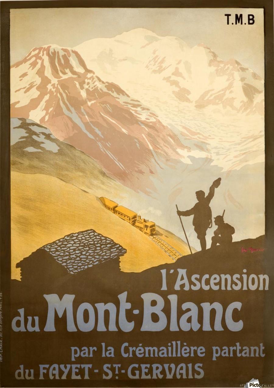 French Vintage Ski Poster for Mont-Blanc - VINTAGE POSTER Canvas
