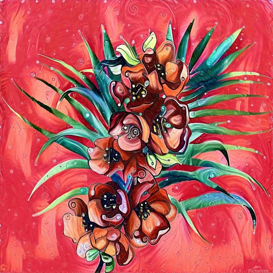 Vibrant Colors Tropical Floral  Print