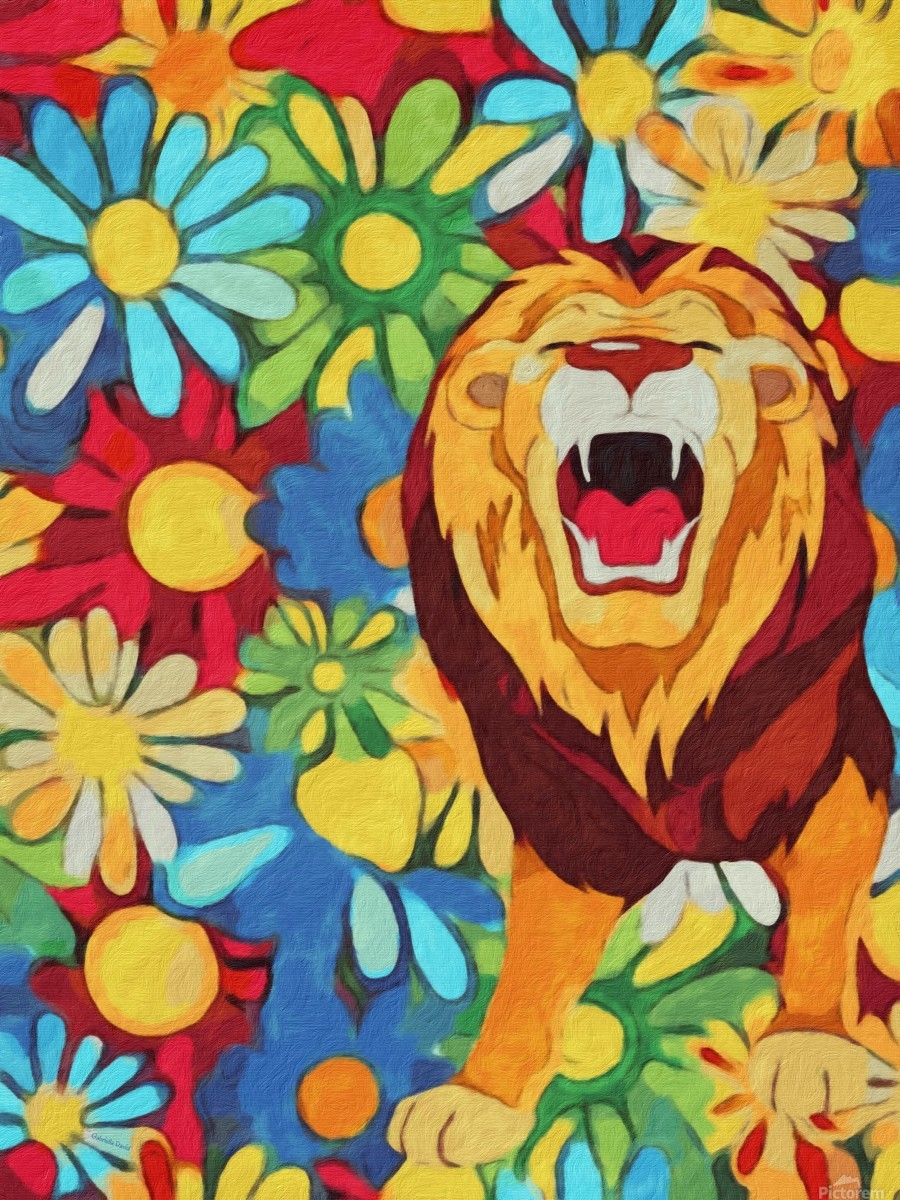 Lion and Flowers Fantasy   Print