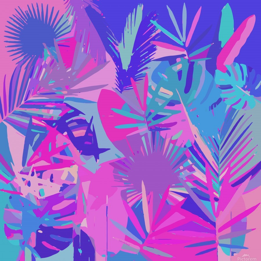 Tropical Leaves Abstract   Print
