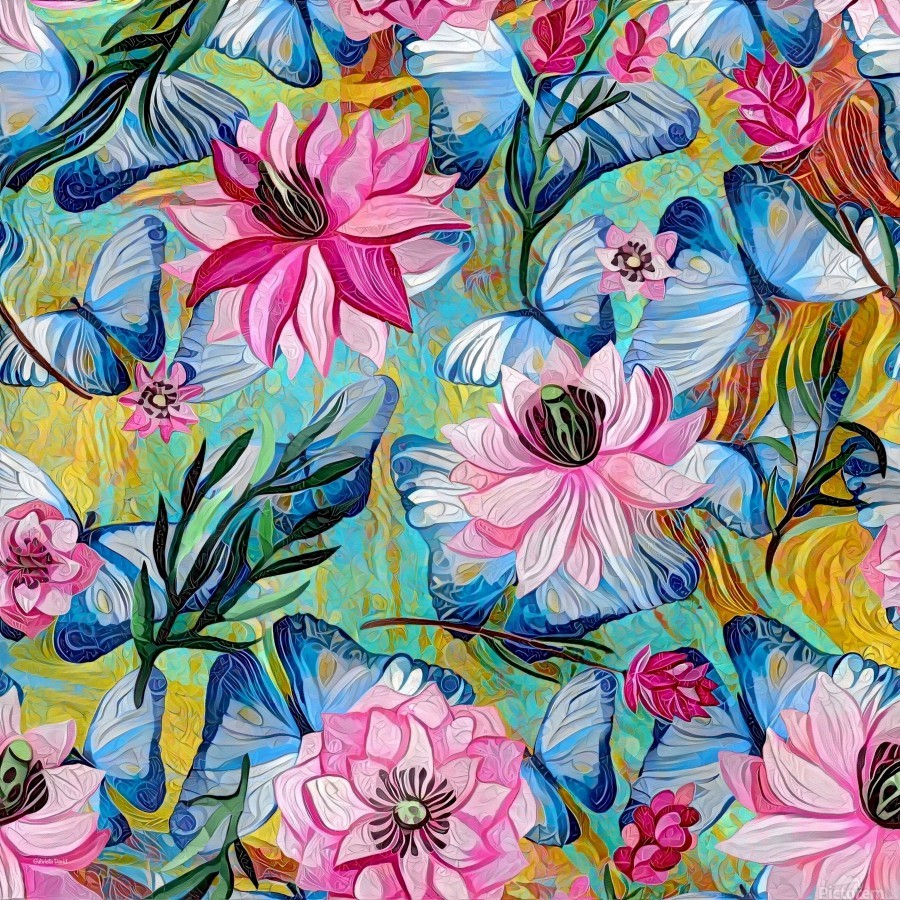 Colorful Floral Abstract   Print