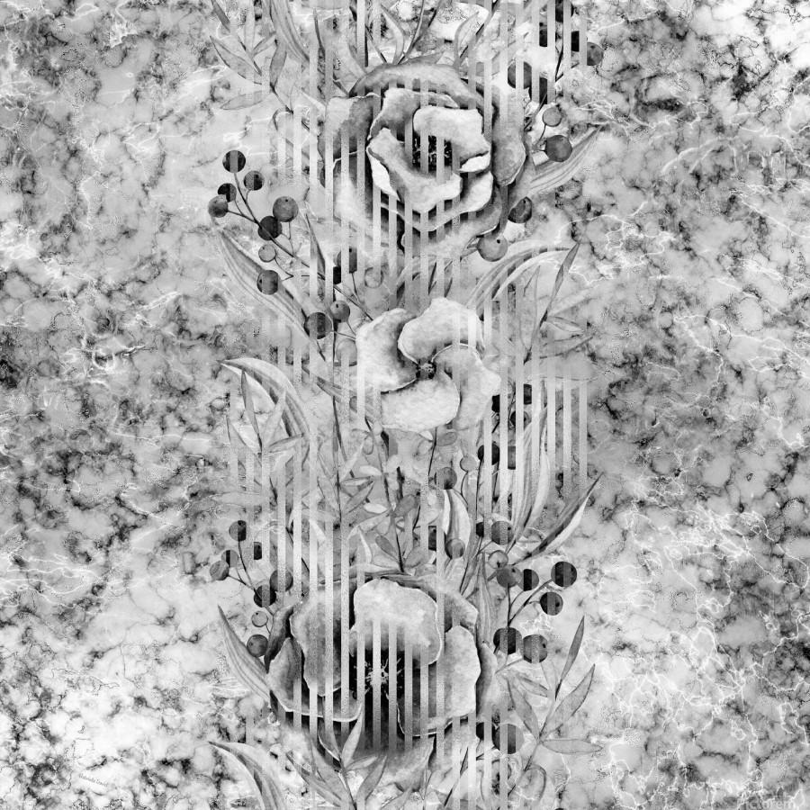 Shades of grey floral abstract   Print