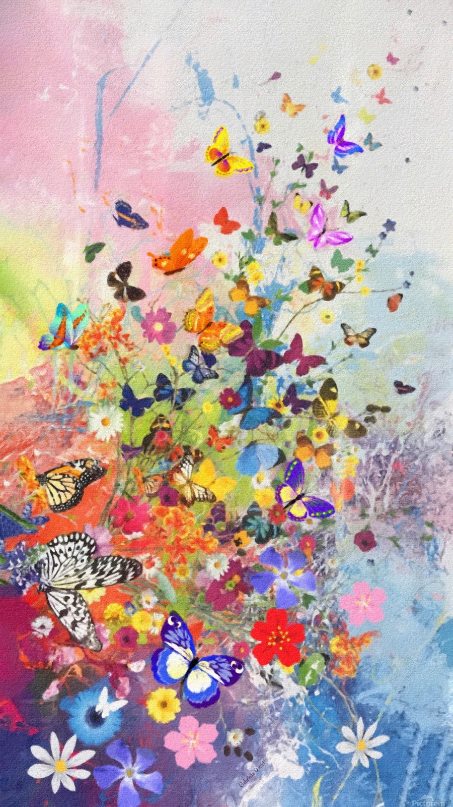 Butterflies and Flowers   Print