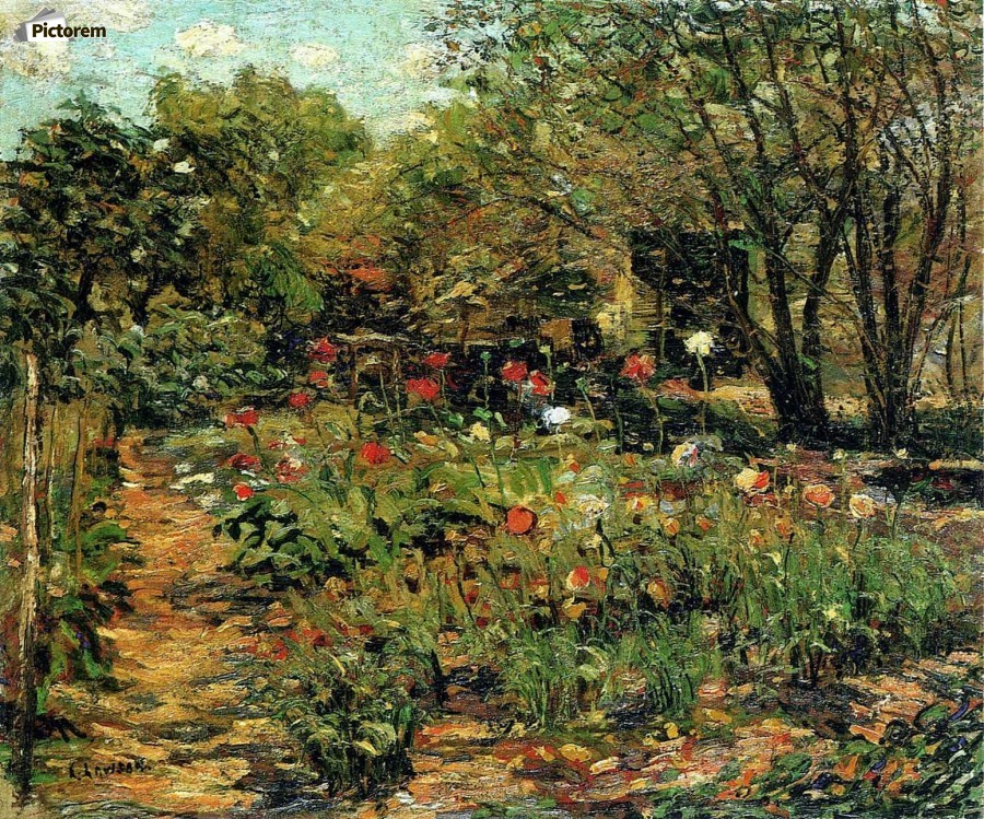 Garden with flowers  Print