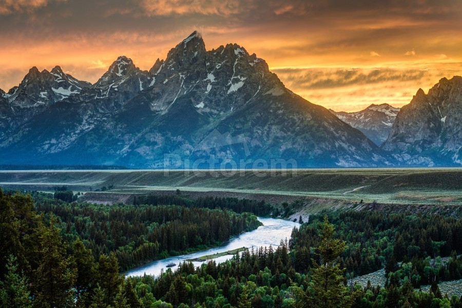 Sunset on Grand Teton and Snake River - Wyoming  Print