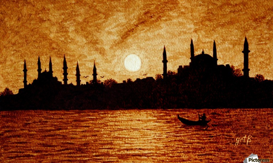 Sunset Over Istanbul Original Coffee Painting  Print