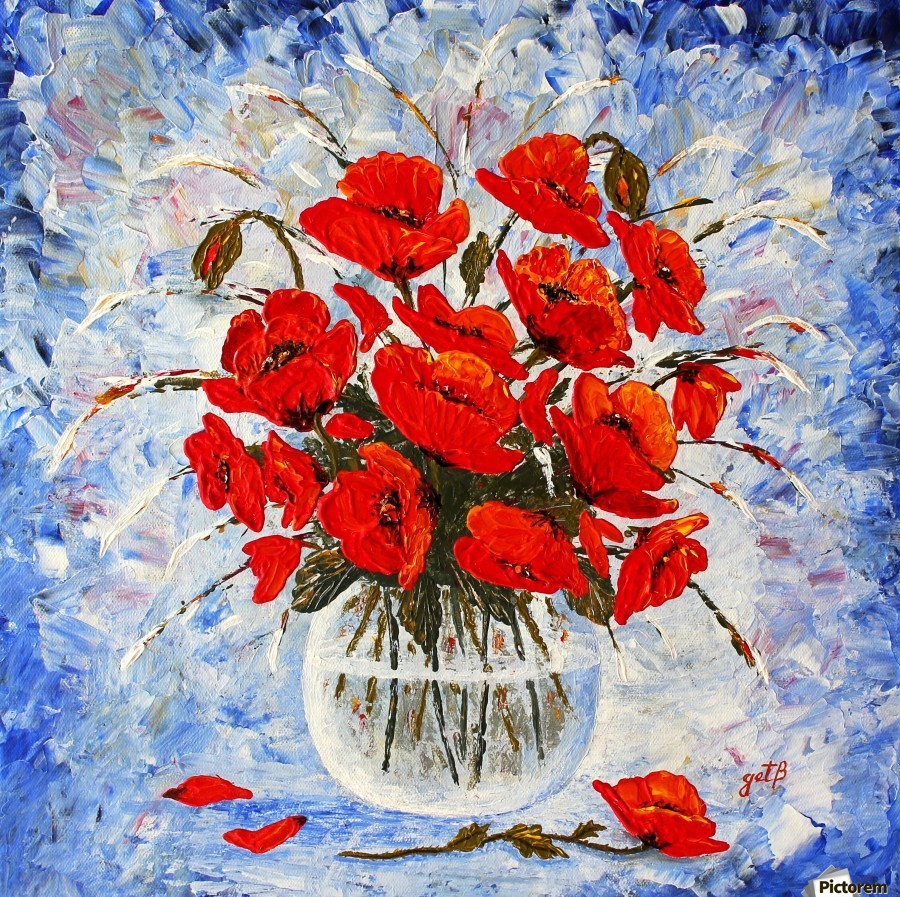Morning Red Poppies original palette knife painting  Print