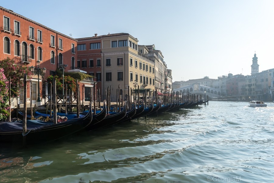 Classic Venetian - Glossy Gondolas And Ripples On The Grand Canal  Print