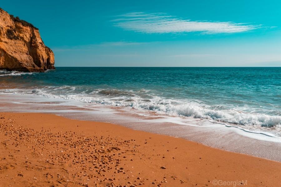 Ocean Beach in Teal and Orange  Print